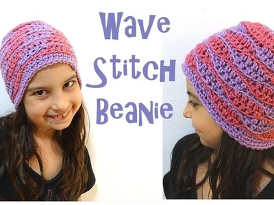 Wave Stitch Beanie - SIZES BABY to ADULT - Left Handed Crochet Tutorial