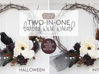 2-in-1 Halloween and Fall Wreath - NO BARBED WIRE NEEDED!