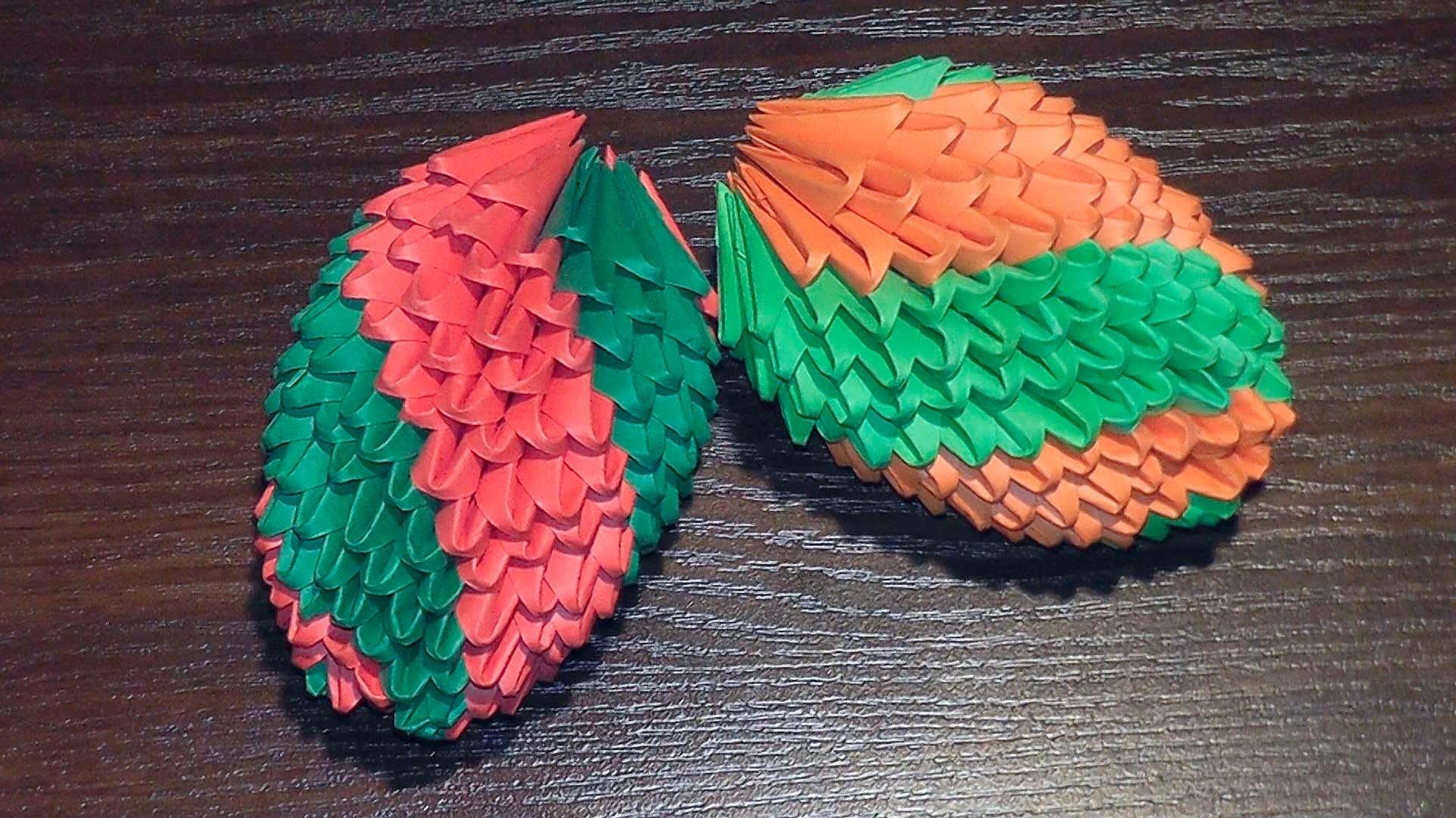 3D origami an Easter egg (fir-cone) tutorial