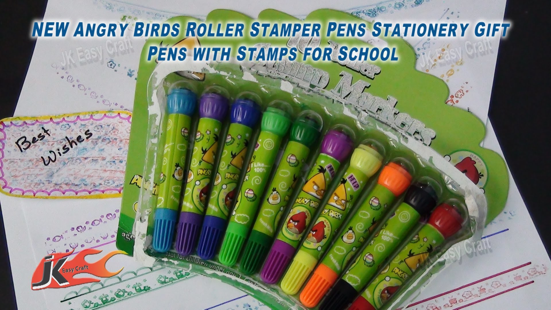 Angry Birds Roller Stamper Pens Stationery Gift | Pens with Stamps for School | JK Easy Craft 080