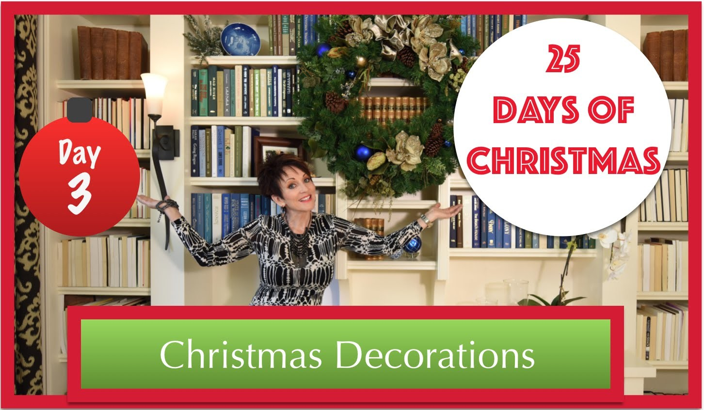 Decorate a Bookcase & Wreath for Christmas | 3rd Day of 25 Days of Christmas 2015!