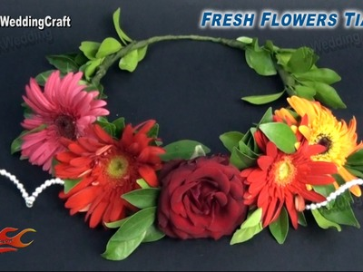 DIY Fresh Flower Tiara. crown | Wedding hair accessories | How to make | JK Wedding Craft 032