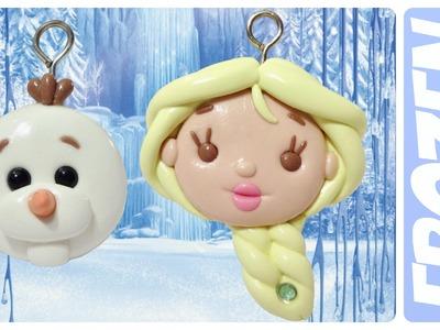 DIY Frozen Elsa & Olaf | Kawaii Polymer Clay Charms Tutorial |