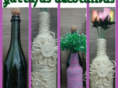 DIY Garrafa decorativa com barbante
