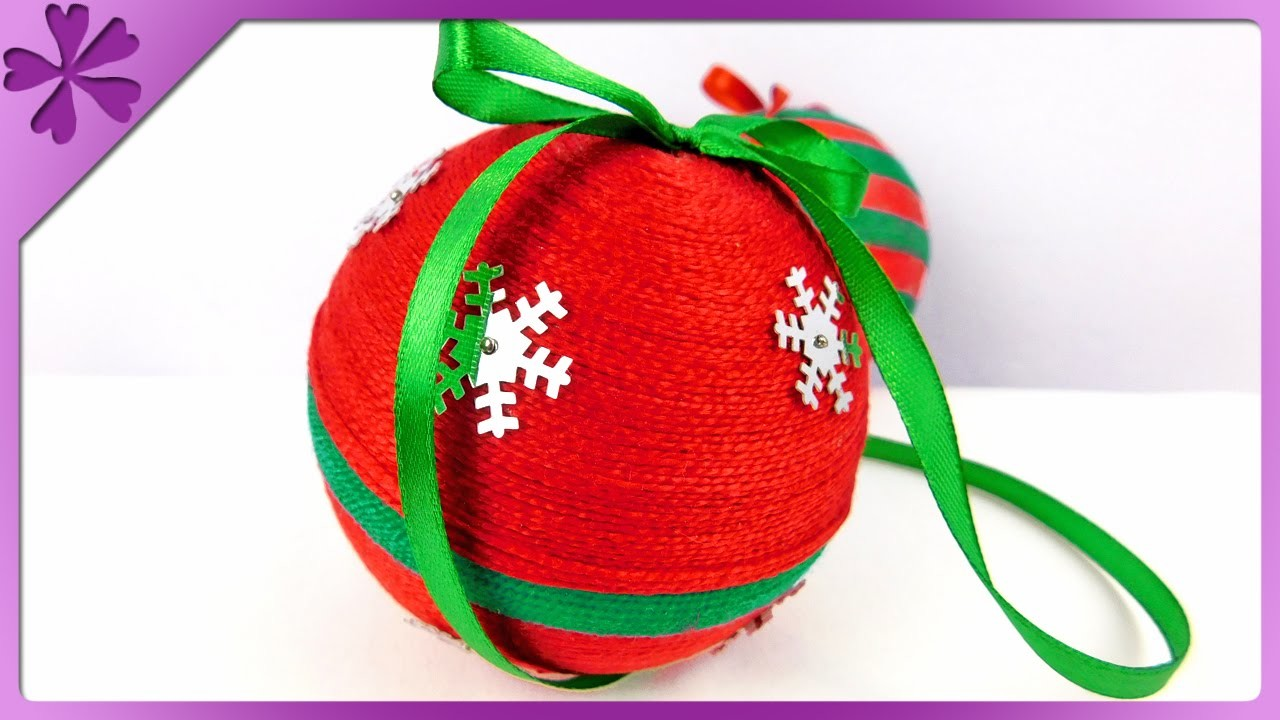 DIY Yarn Christmas ball (ENG Subtitles) - Speed up #168