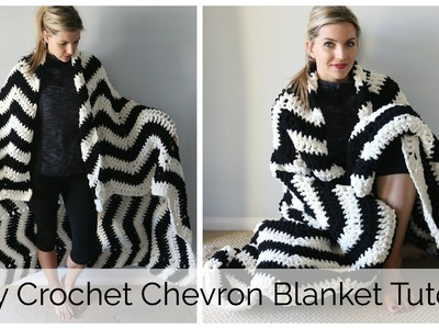 Easy Crochet Chevron Blanket Tutorial