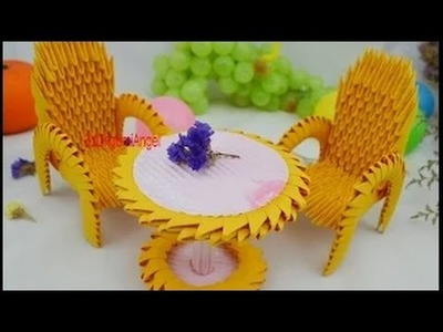 Hand Made Art -How to Folded 3D Origami Model Desk and Chair Part 3