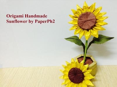 Handmade Origami Sunflower - Part2: Make sepal, leaf and stem.