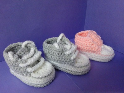 How to crochet My easy new born baby converse style slippers p3