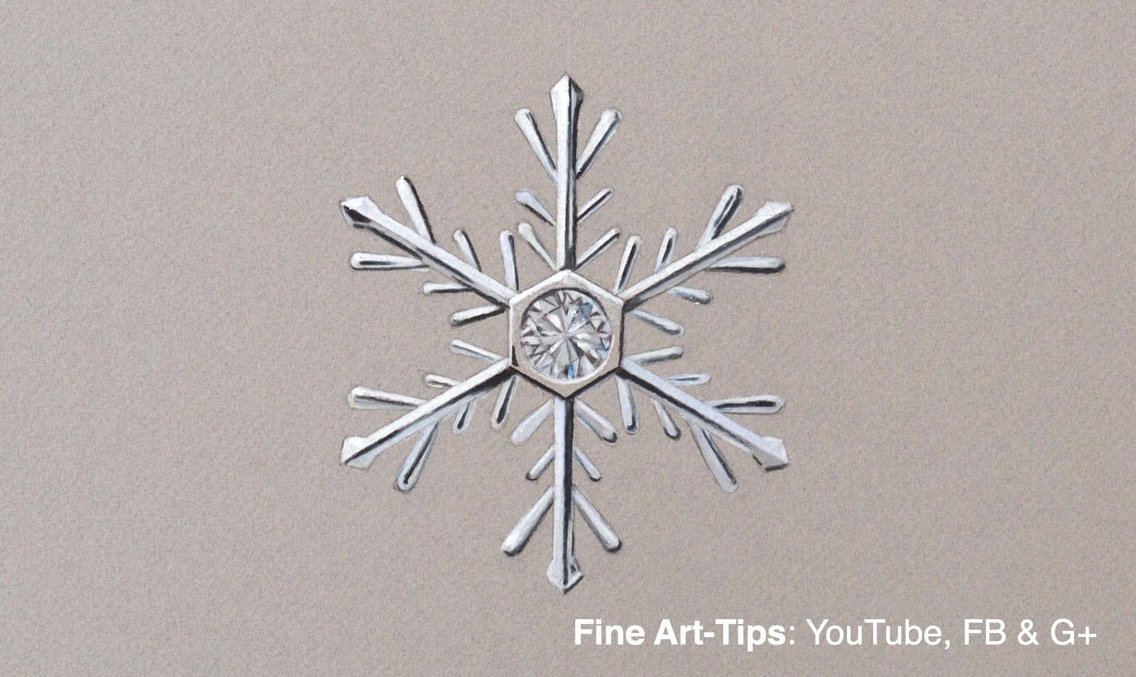 How to Draw a Snowflake Decoration - Jewelry With Diamond