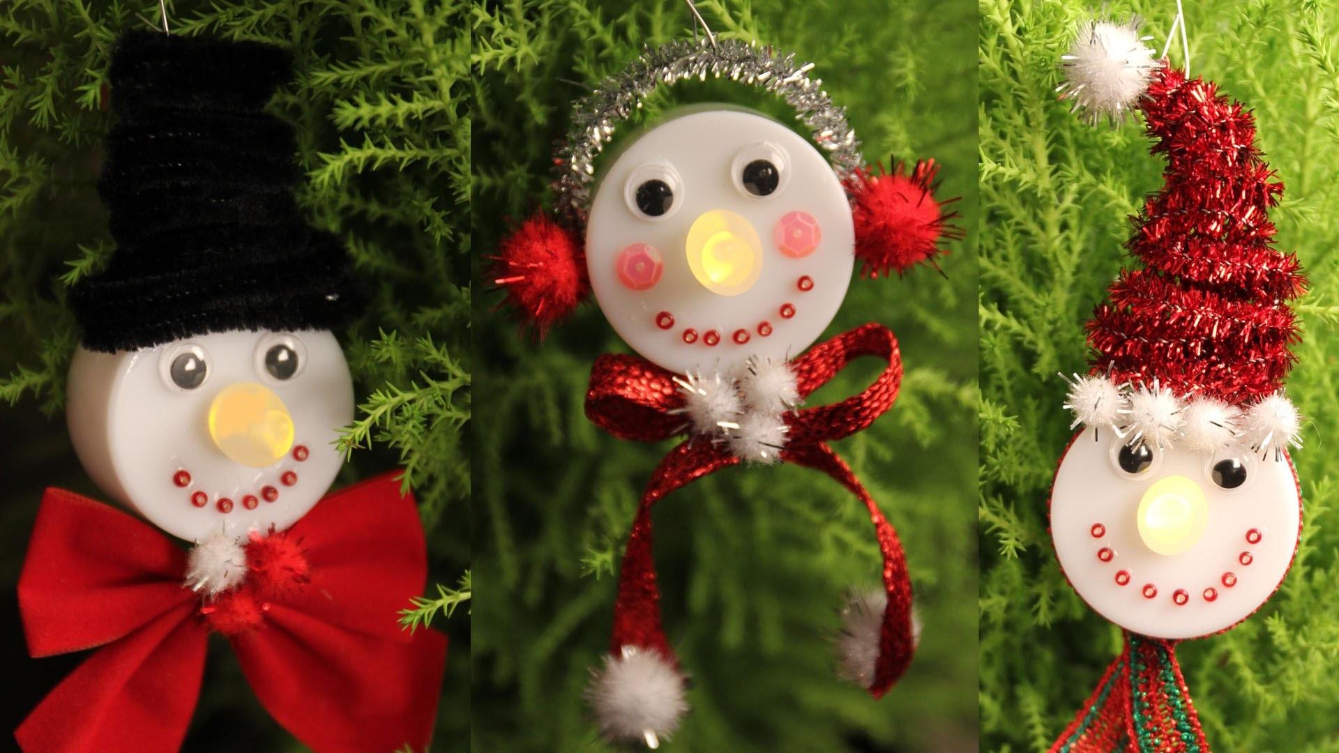 Snowman Tea Light Christmas Ornaments  - The Cutest DIY!