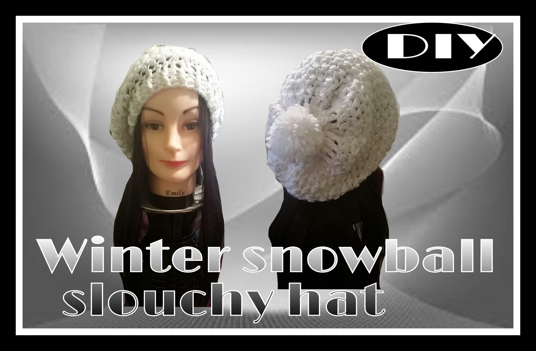 Winter snowball slouchy hat  part 2