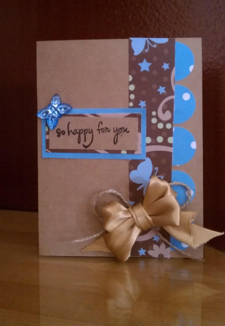 Blue & Brown Butterflies and Bows Handmade Card