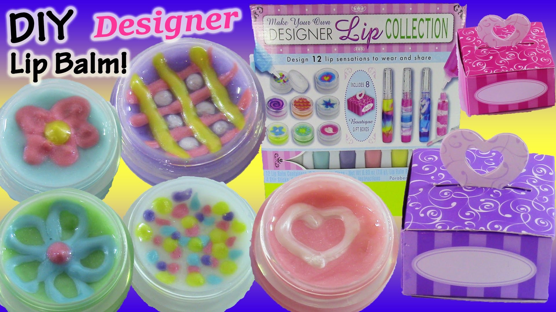 DIY Designer Lip Gloss! Mix Make & Design Your Own Glitter lip Balm! Shopkins Nail Kit! FUN