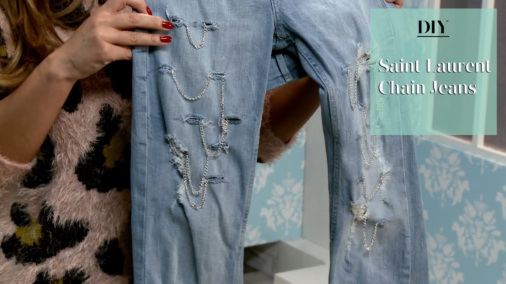 DIY: Saint Laurent Inspired Chain Jeans