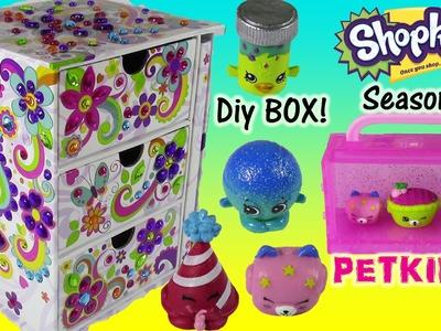 DIY Sticky Gems Jewelry Chest with Secret DIary! SHOPKINS Season 4 Petkins 12 pack! Crafty Fun