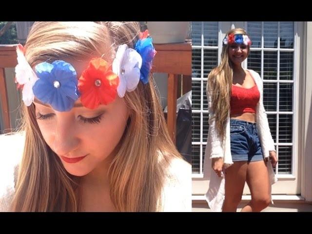 Fourth of July Outfit Idea + DIY Festive Flower Headband!