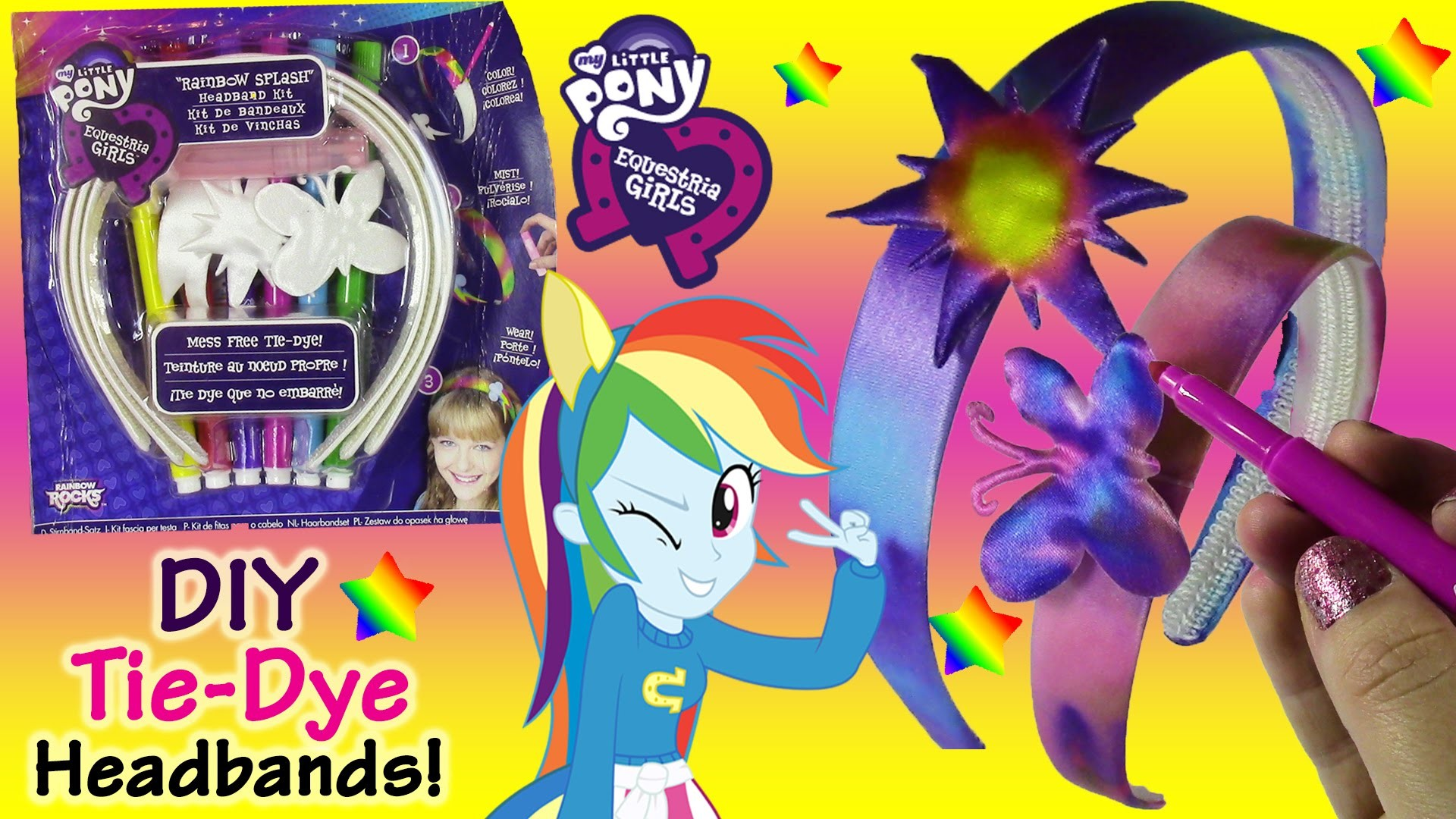 MLP Equestria Girls DIY Rainbow Splash Tie-Dye Headband Kit! Color & Spray with Water! Lip Gloss!