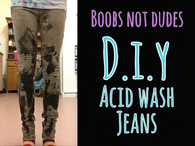 D.i.y acid wash jeans    boobs not dudes