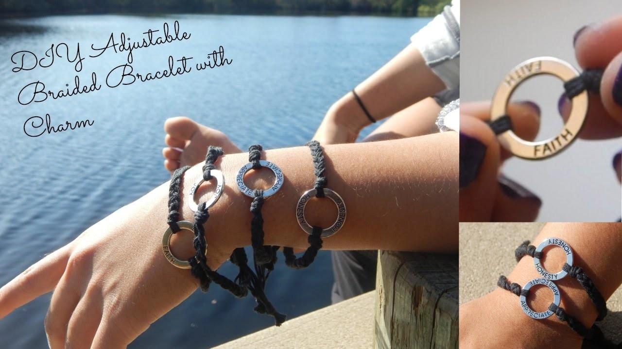 DIY Adjustable Braided Bracelet with Charm