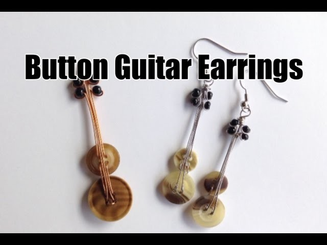 DIY Guitar Earrings made of Recycled Buttons