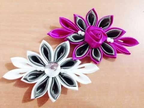 DIY Kreasi Bunga Dari Pita Satin - How to make satin ribbon Kanzashi Flower Brooch