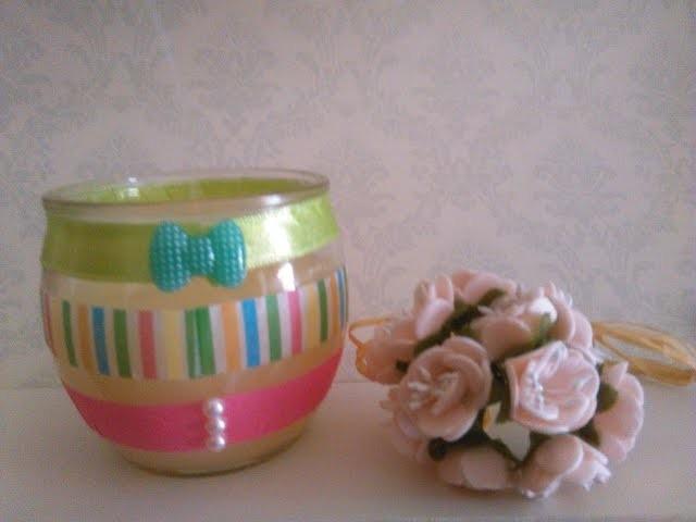 DIY: Washi tape candle