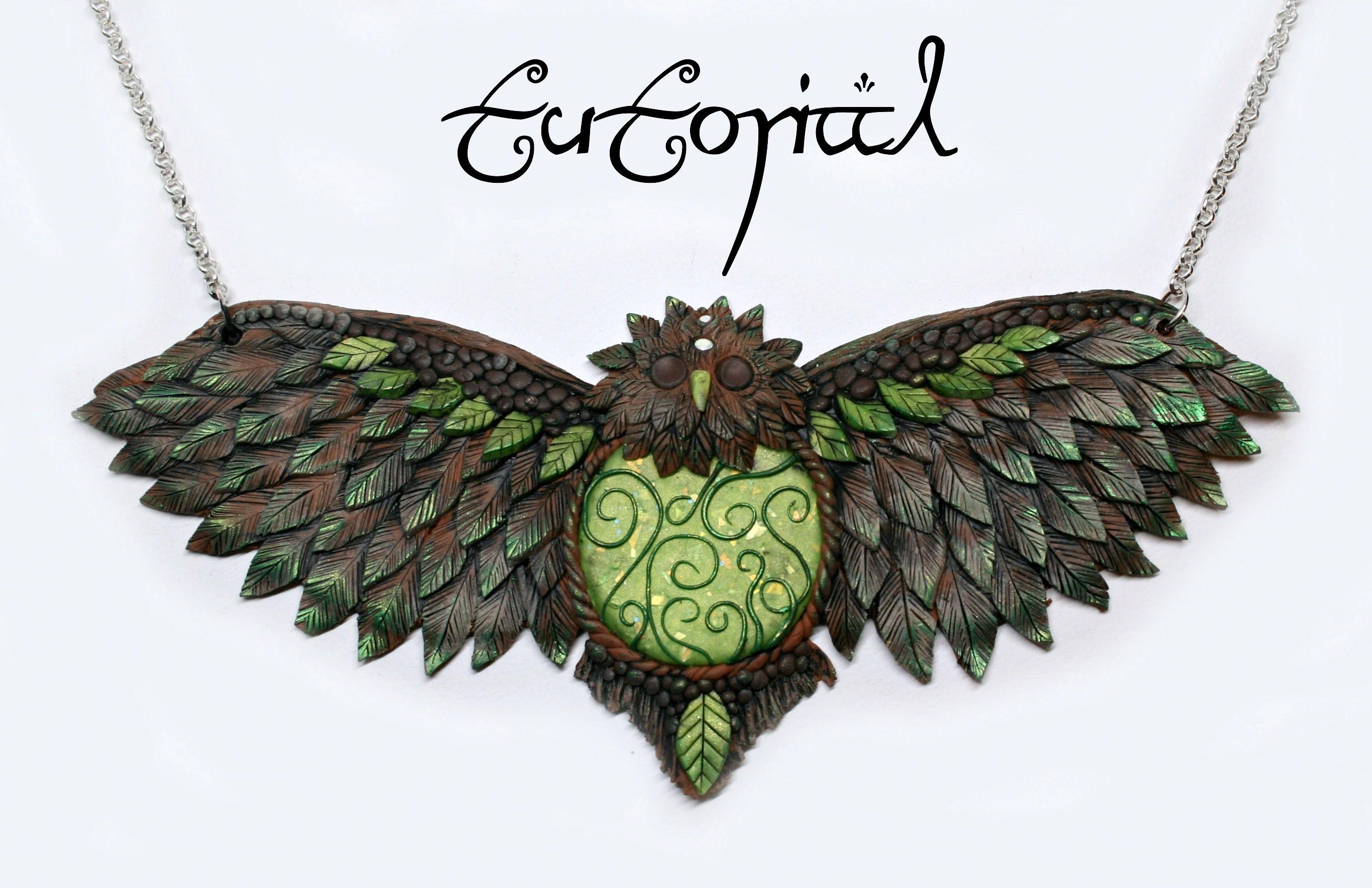Forest Owl Polymer Clay Statement Fantasy Necklace | Premo Art.Sculpture | DIY Pendant | Velvetorium