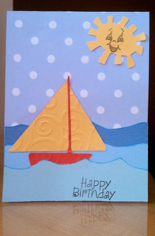 Little Boy's Handmade Sailboat Birthday Card