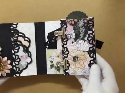 My Black & White Handmade Mini Album with Multiple Pockets & Tags