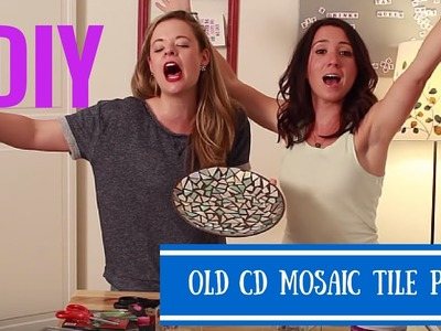 DIY Mosaic Tile Plate With Old CDs- Crafting Under The Influence- Episode 1