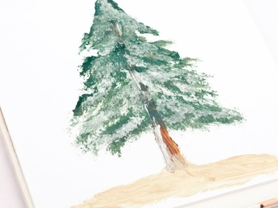 Paint a Realistic Pine Tree With Snow - DIY  - Guidecentral