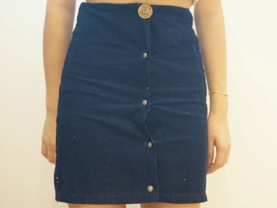 DIY button up skirt from pants