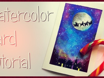DIY CHRISTMAS CARD with watercolors. BIGLIETTO NATALIZIO ad acquerello FAI DA TE