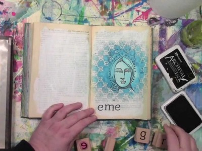 An altered book tutorial with a rubber stamp and a stencil