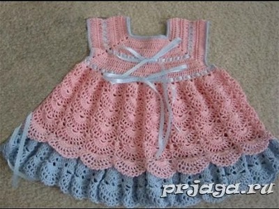 Crochet baby dress| How to crochet an easy shell stitch baby. girl's dress for beginners 75