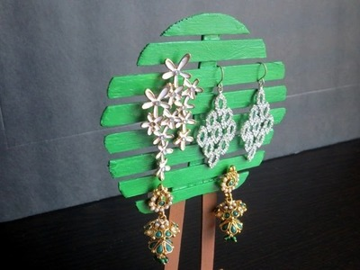 DIY Popsicle Sticks Tree Jewelry Holder | stand