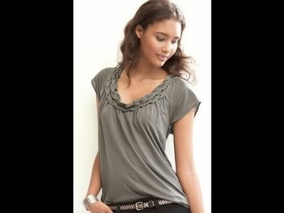 How to beautiful weave neck T-shirt free tutorial