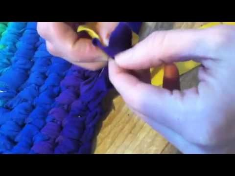 How to connect fabric strips for a toothbrush rug