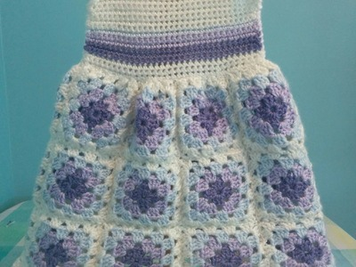 How to Crochet a Granny Square Baby Dress - Easy