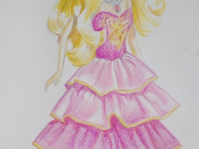 How to draw a Barbie doll in pink dress.