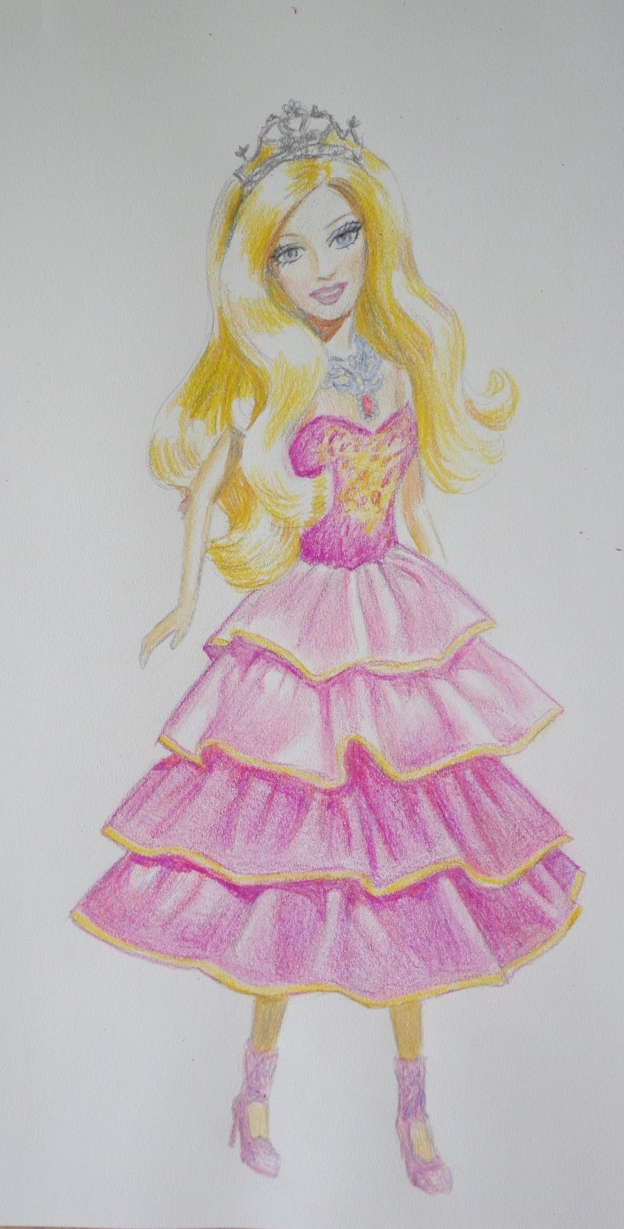 57944f798 How to draw a Barbie doll in pink dress.