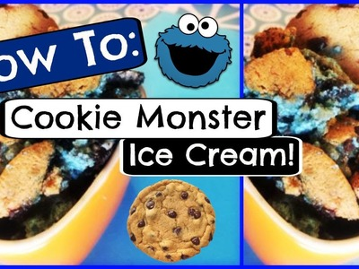 HOW TO MAKE COOKIE MONSTER ICE CREAM! - No Churn! | CraftieAngie