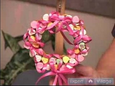 How to Make Pretzel Crafts : How to Make a Candy Heart Valentine Wreath With Pretzels