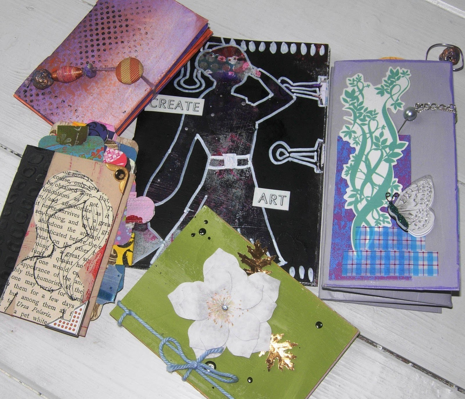 Make a Mini Book from a Recycled Greetings Card ~ Book #3: 5 Hole Pamphlet Stitch
