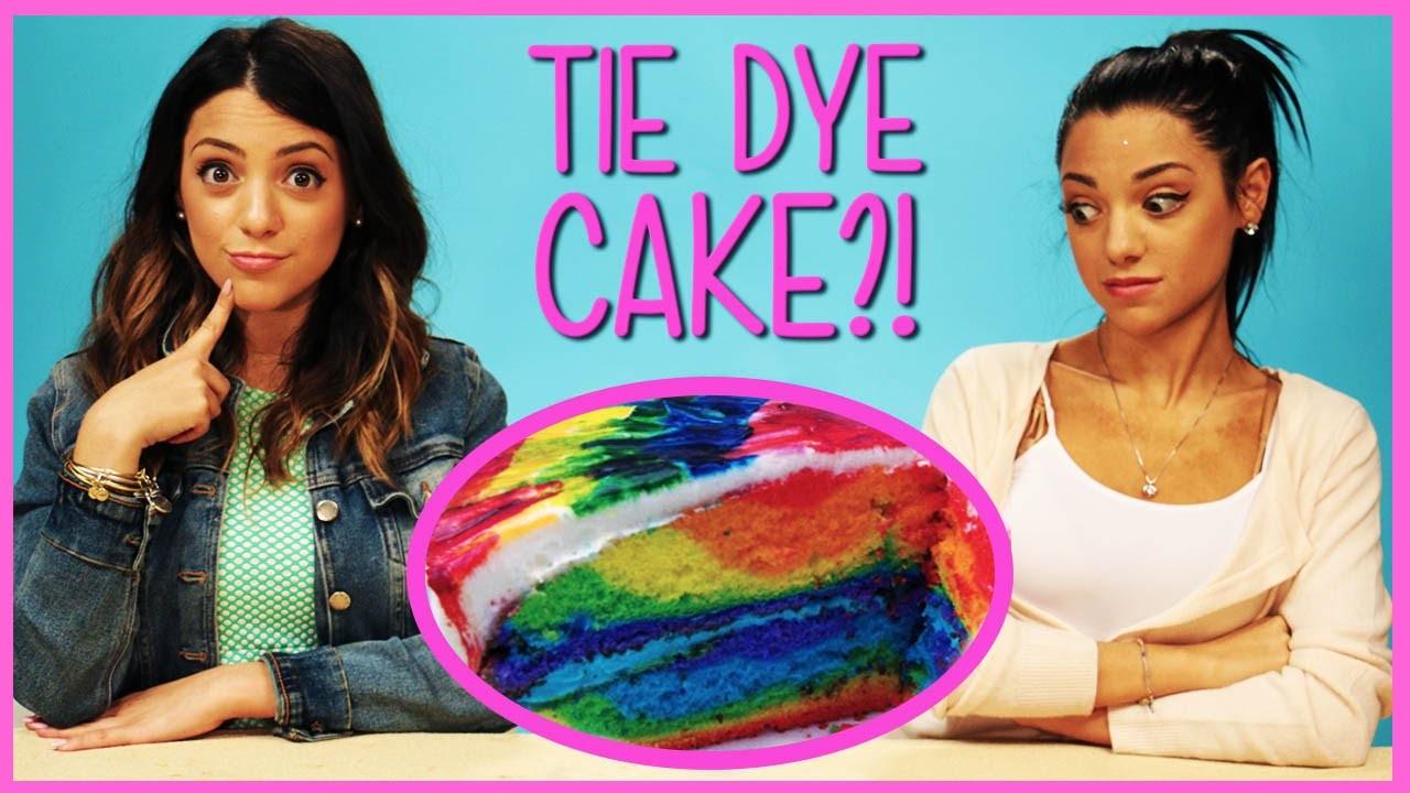 NikiAndGabiBeauty Rainbow Tie Dye Cake?! | DIY or Di-Don't