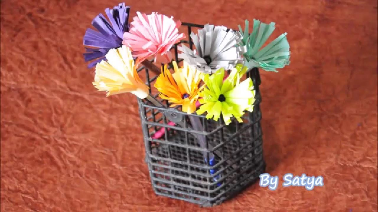 Decorating Pencil and Pen back with cute flowers - DIY Pencil flower or Pen Flower