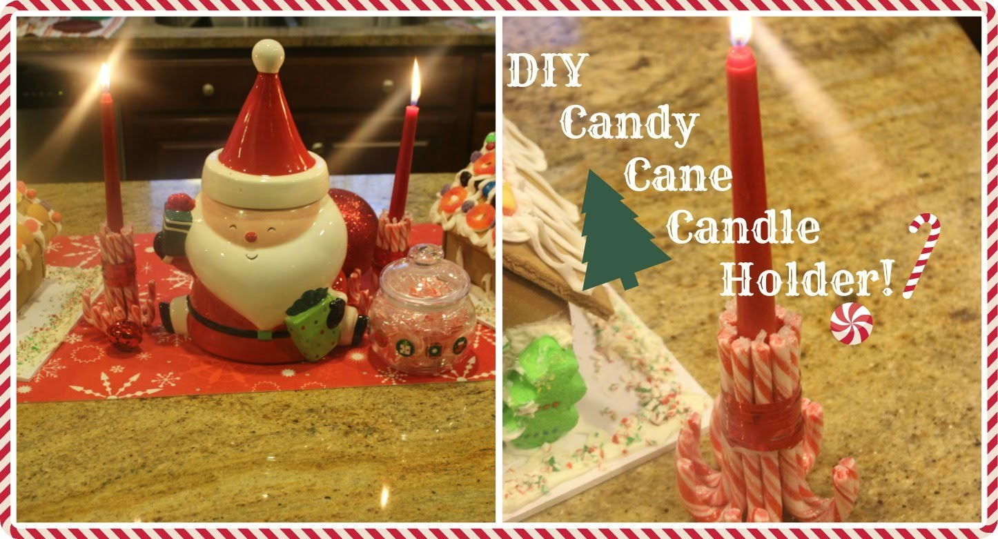 ♡♥ DIY CANDY CANE CANDLE HOLDER!♥ ♡
