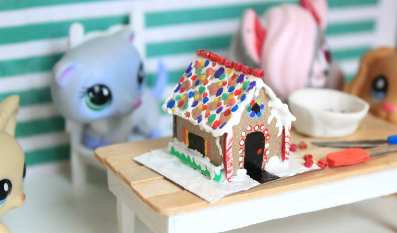 LPS DIY How to make a miniature gingerbread house | Doll diy