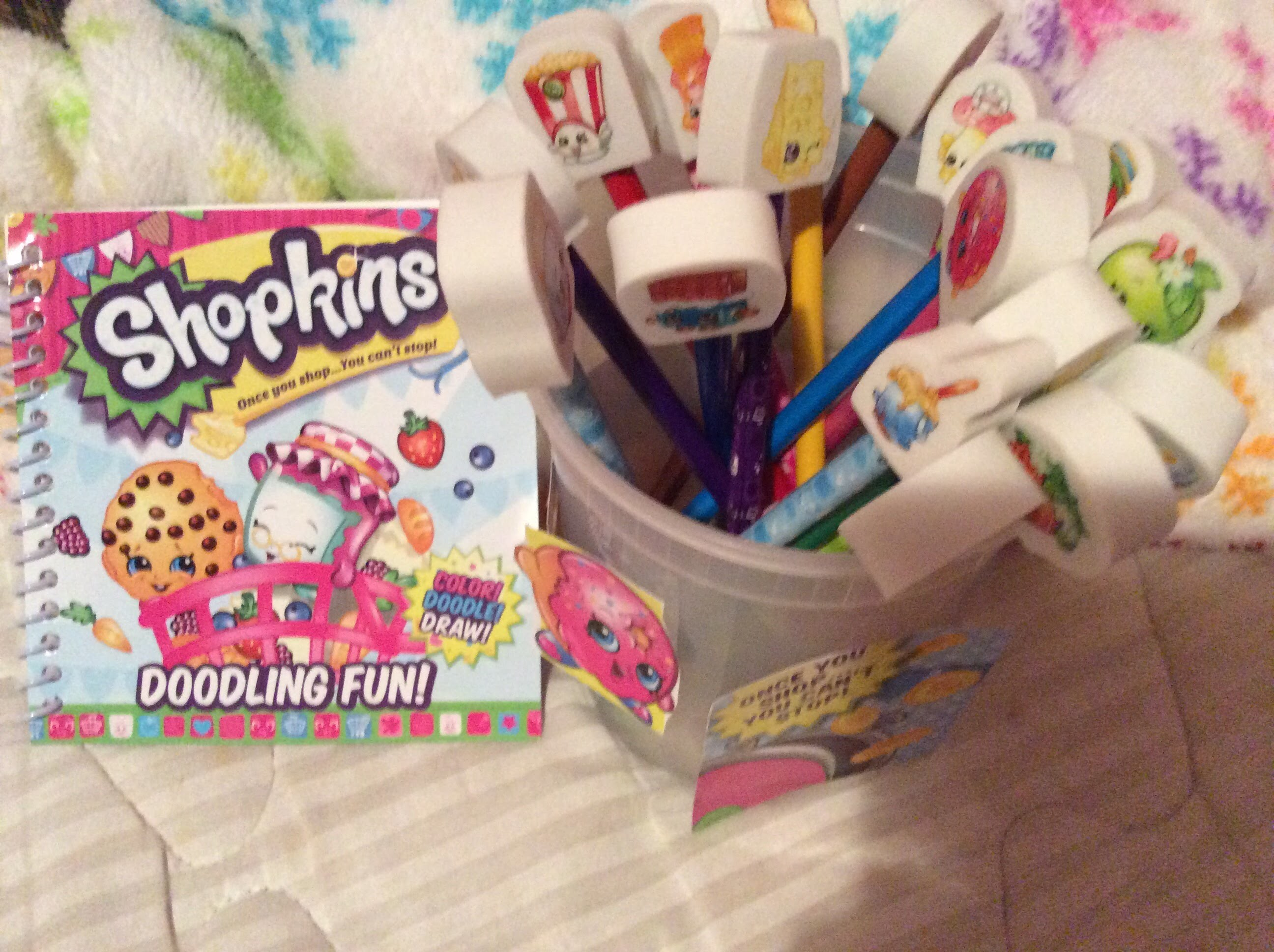 Shopkins NEW 20 Colored & Regular Pencils, Coloring Notebook & DIY CRAFT